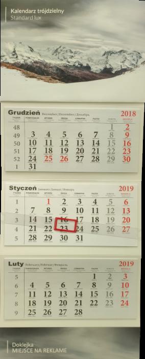 kalendarz trójdzielny standard
